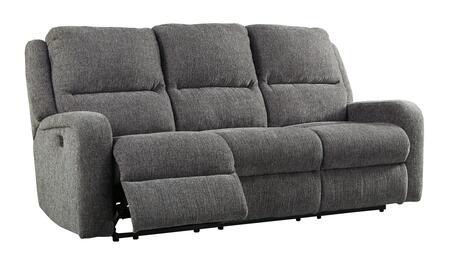 Signature Design by Ashley Krismen Collection 7810X15 Power Reclining Sofa with Adjustable Headrest, Chenille Upholstery, Track Arms and USB Charging Port in