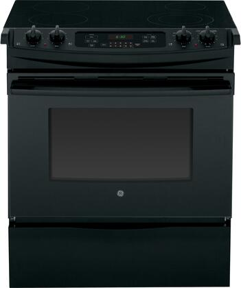 """GE JS630DFBB 30"""" Slide-in Electric Range with Smoothtop Cooktop, 4.4 cu. ft. Primary Oven Capacity, Storage in Black"""