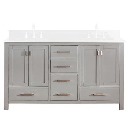 Avanity MODERO-V-CG Modero Double Vanity with 4 Soft Closed Doors, 5 Drawers, Brushed Nickel Finished Hardware, Adjustable Height Levelers, Poplar Solid Wood and Plywood, in Grey