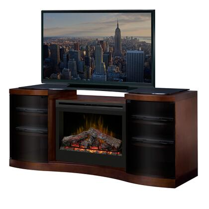 Dimplex GDS3-1246WAL Acton Electric Fireplace Media Console, with Tempered Glass Top, Adjustable Shelves, Large Storage Capacity and Sleek Curved Design, in Walnut Finish