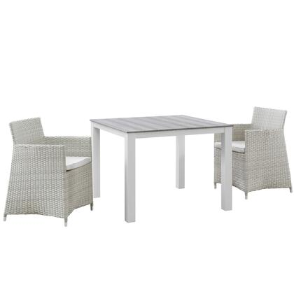 Modway Junction Collection 3 PC Outdoor Patio Dining Set with Synthetic Rattan Weave, Powder Coated Aluminum Frame, Fabric Upholstery, Water and UV Resistant in