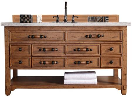 "James Martin Malibu Collection 500-V60S-HON- 60"" Honey Alder Single Vanity with Eight Drawers, Bottom Shelf, Rustic Iron Hardware and"