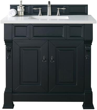 "James Martin Brookfield Collection 147-114-5531- 36"" Antique Black Single Vanity with Two Soft Closing Doors, Backsplash, Hand Carved Filigrees and"