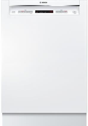 """Bosch SHEM63W5XN 24"""" Energy Star Rated 300 Series Recessed Handle Dishwasher with 16 Place Settings, 3 Racks, Tall Tub, 5 Wash Cycles, and 4 Wash Options, in"""