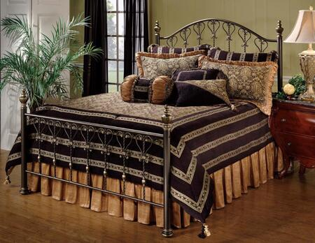 Hillsdale Furniture 1332BR Huntley Poster Bed with Rails Included, Scrollwork Heart Motif and Tubular Steel Construction in Dusty Bronze Finish