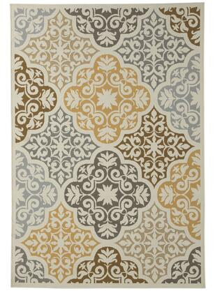 Signature Design by Ashley Lacy Collection R40221X Rug with Abstract Floral Design, Machine Woven and 4mm Pile in Brown and Gold