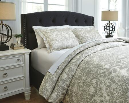 Signature Design by Ashley Kelby Q751003 3 PC Size Duvet Cover Set includes 1 Duvet Cover and 2 Standard Shams with Printed Design, 220 Thread Count and Cotton Material in Natural Color