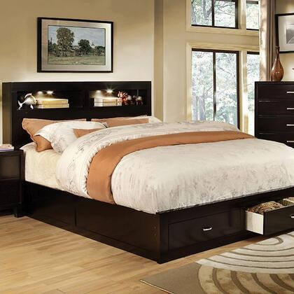 Furniture of America Gerico II CM7291EX Bed with Contemporary Style, Storage Platform Bed, Bookcase Headboard with Lighting, 2 Drawers in Footboard in Espresso