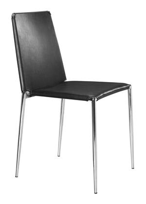 """Zuo 10110 Alex 34"""" Dining Chair with Chromed Steel Tube Frame and Leatherette Upholstery"""