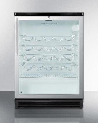 Summit SWC6GXHV Commercially Approved Freestanding Glass Door Wine Cellar with 5.5 Cu. Ft. Capacity, 4 Wine Shelves, Automatic Defrost and Factory Installed Lock: