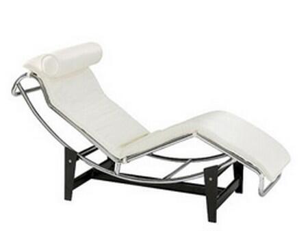 Fine Mod Imports FMI1155WHITE Modern Leather Chaise Lounge