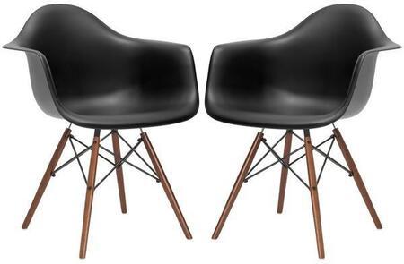 EdgeMod EM110WALBLKX2 Vortex Series Modern Wood Frame Dining Room Chair