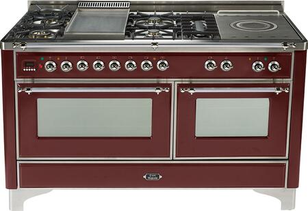 Ilve UMT150FMPRB Majestic Techno Series Dual Fuel Freestanding Range with Sealed Burner Cooktop, 3.55 cu. ft. Primary Oven Capacity, Warming in Burgundy Red