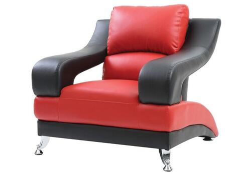 Glory Furniture G246C Faux Leather Armchair with Metal Frame in Red and Black