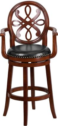 "Flash Furniture 30"" Bar Stool with Curved Arms, Black LeatherSoft Upholstery, Nailhead Trimmed Swivel Seat, Footrest and Protective Floor Glides in"