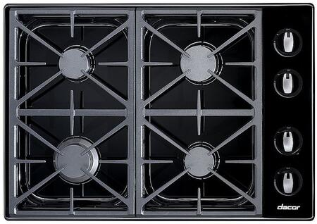 Dacor RGC304BLPH Renaissance Series Liquid Propane Sealed Burner Style Cooktop, in Black