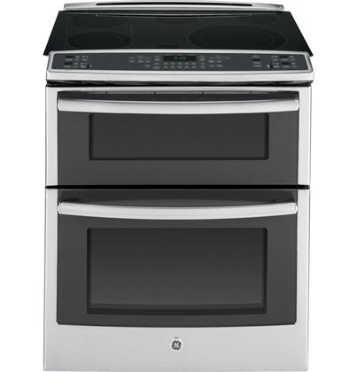 "GE Profile PS950 30"" 6.6 cu. ft. Capacity Slide-In Double Oven Electric Range with True European Convection, Expandable Bridge Zone, Glass Touch Controls and Self-Clean Roller Rack"
