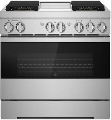 Jenn-Air NOIR JDRP536HM 36-Inch Dual-Fuel Professional Range with Chrome-Infused Griddle