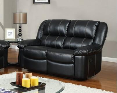 Global Furniture USA U9966BlackL Leather Reclining Loveseat