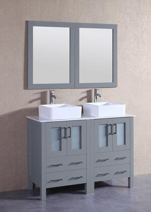 """Bosconi AGR224CBECMX XX"""" Double Vanity with Carrara Marble Top, Square White Ceramic Vessel Sink, F-S02 Faucet, Mirror, 4 Doors and X Drawers in Grey"""