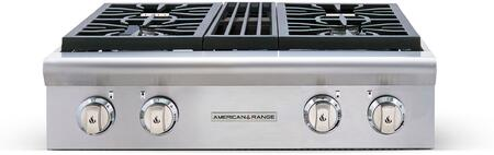 """American Range AROBSCT430 30"""" Performer Series Slide-In Gas Rangetop with 4 Open Burner, Automatic Electronic Ignition and Commercial Grade Cast Iron Grates in Stainless Steel:"""