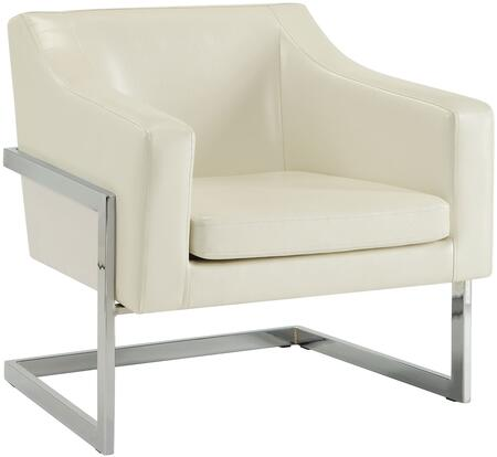"""Coaster Accent Seating 31.25"""" Accent Chair with Exposed Metal Frame, Cantilever Legs, Sloping Track Arms and Leatherette Upholstery in"""