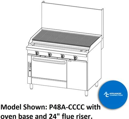 "Southbend P48CCCC Platinum Series 48"" Sectional Charbroiler Range with All Stainless Steel Construction and Eight Standard Burners, Up to 128000 BTUs (NG)/112000 BTUs (LP)"