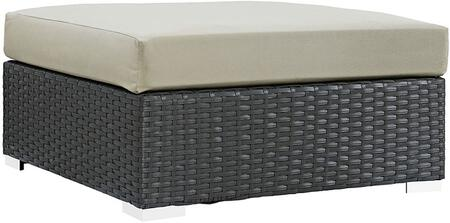 "Modway Sojourn EEI1861CHC 35.5"" Outdoor Patio Sunbrella Square Ottoman with Polished 201 Stainless Steel Legs, Powder Coated Aluminum Frame, UV and Water Resistant in Canvas Color"