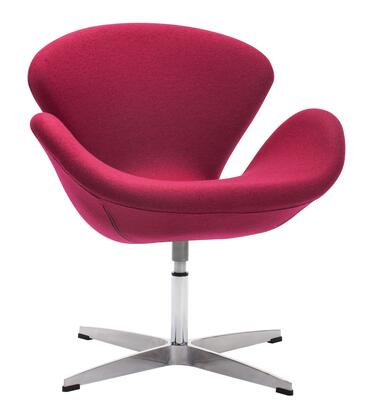 """Zuo 5003 Pori Collection 30"""" Arm Chair with Curved Back, Chromed Base, and Polyblend Upholstery"""