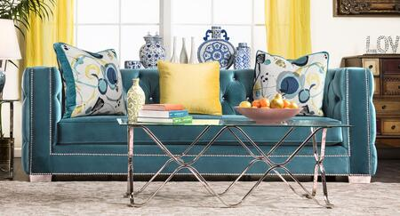 """Furniture of America Salvatore Collection SM228X-SF 93"""" Sofa with Acrylic Buttons, Nailhead Trim and Premium Velvet Fabric in"""
