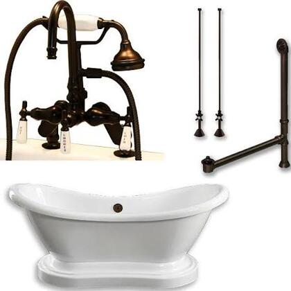 "Cambridge ADESPED684DPKG Acrylic Double Ended Pedestal Slipper Bathtub 68"" x 28"" with 7"" Deck Mount Faucet Drillings and Complete Plumbing Package"