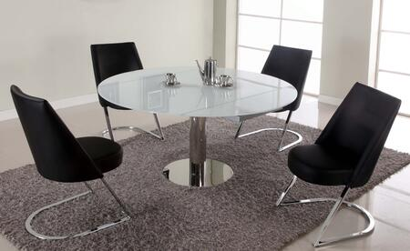 Chintaly TAMI5PC TAMI DINING 5 Piece Set - White Table with 4 Slight Concave Back Side Chairs