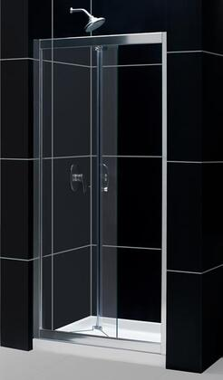 DreamLine DL-612 Butterfly Frameless Bi-Fold Shower Door with Single Threshold Shower Base and QWALL-5 Shower Backwalls Kit in