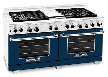 "American Range ARR6062GRDB 60"" Heritage Classic Series Gas Freestanding Range with Sealed Burner Cooktop, 4.8 cu. ft. Primary Oven Capacity, in Dark Blue"