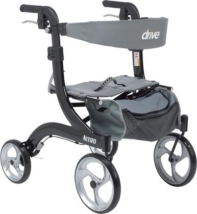 """Drive Medical RTL10266HH Nitro Aluminum Rollator Hemi Height with 28""""-31"""" Adjustable Handle Height, For 5'2"""" and Below Users, Large 10"""" Front Casters and Lightweight Aluminum Frame"""
