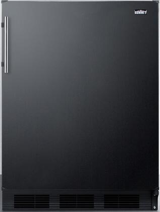 "Summit FF63BXADA 24"" ADA Compliant Freestanding Compact Refrigerator with 5.5 cu. ft. Capacity, Adjustable Spill Proof Glass Shelves, Crisper, Wine Shelf and Interior Lighting:"