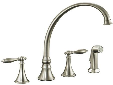 Kohler K-377-4M- Double Handle Kitchen Faucet with Metal Traditional Lever Handles and Sidespray from the Finial Series: