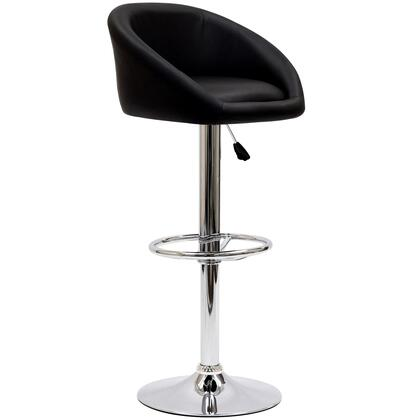 "Modway EEI-583 Marshmallow 25"" Bar Stool with Modern Design, Hydraulic Adjustable Height, Chrome Plated Steel Base, and Leatherette Upholstery"