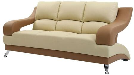 "Glory Furniture 76"" Sofa with Chrome Feet, Split Pub Back and Faux Leather Upholstery in"