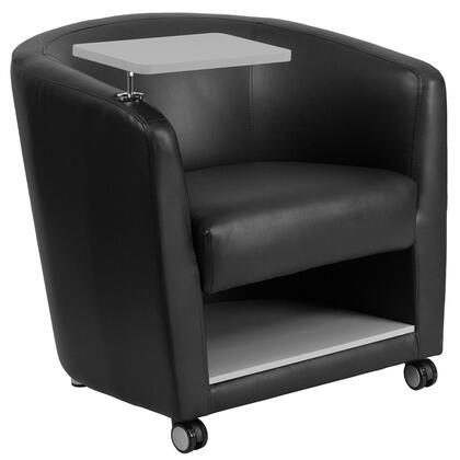"""Flash Furniture 30"""" Guest Chair with Barrel Back Design, Raised Tablet Arm Swings 360 Degrees, Plush Foam Seat, Chrome Feet and LeatherSoft Upholstery"""