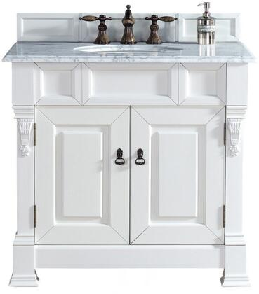 "James Martin Brookfield Collection 147-114-5541- 36"" Cottage White Single Vanity with Two Soft Closing Doors, Backsplash, Hand Carved Filigrees and"