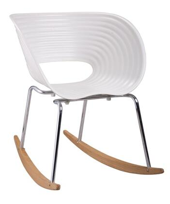 Fine Mod Imports FMI4013WHITE  Polypropelene Seat Frame Not Upholstered Rocking Chair