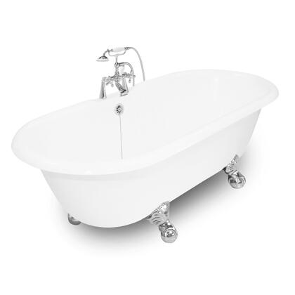American Bath Factory T150B- Winston Bathtub With 90 Series Faucet, Hand Shower & Metal Cross Handles, Waste & Overflow Included: