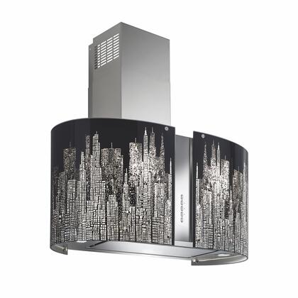Futuro Futuro ISMURNEWYORK Murano New York Island Mount Chimney Style Range Hood with Halogen Lighting, 940 CFM Internal Blower, Dishwasher-safe Mesh Filter, and Delay Shut-Off Timer, in Stainless Steel