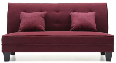 """Glory Furniture Newbury Collection 61"""" Armless Loveseat with 2 Throw Pillows, Tapered Legs, Button Tufted Back and Fabric Upholstery in"""