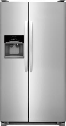 """Frigidaire FFSS2615Tx 36"""" Side-by-Side Refrigerator with 25.5 cu. ft. Capacity, LED Lighting, External Ice and Water Dispenser, 2 Store-More Glass Shelves, 2 Wire Freezer Shelves, and Automatic Ice Maker, in"""