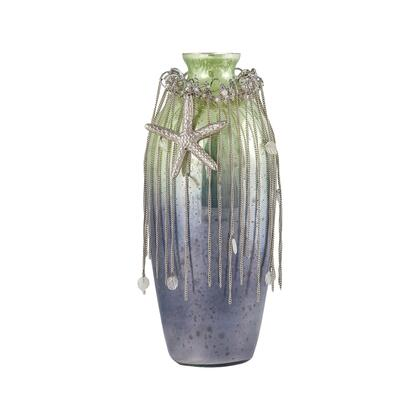 Sterling Vase Corfu Collection Vase with Glass Jewels, Silver Wire Roping, Starfish Anulet Stars and Glass Construction in Pampas Finish