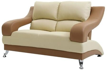 "Glory Furniture 62"" Loveseat with Chrome Feet, Split Pub Back and Faux Leather Upholstery in"