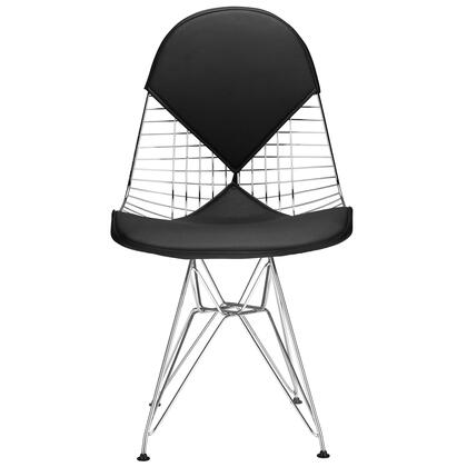 "EdgeMod Kini Collection 18"" Dining Chair with Solid Chrome Wire Frame, Curvy Seat, Non-Marking Feet Caps and Leatherette Upholstery"