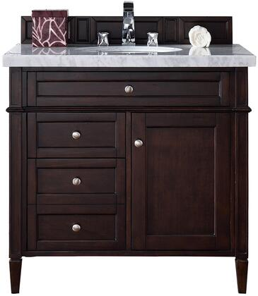 "James Martin Brittany Collection 650-V36-BNM- 36"" Burnished Mahogany Single Vanity with Three Drawers, One Door, Tapered Legs, Satin Nickel Hardware and"
